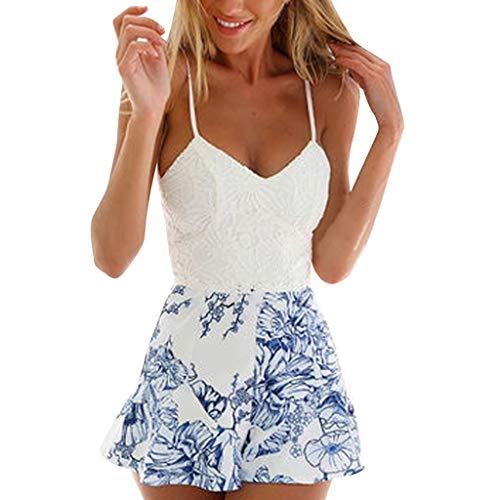 Women Summer Shorts Jumpsuit, Crochet Lace Bow Tie Florals Romper Overalls (M, White01)
