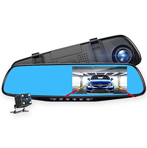 West Basics Backup Camera 4.3 Mirror Dash Cam Touch Screen 1080P Rearview Front and Rear Dual Lens with Waterproof Reversing Camera