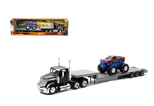 NewRay 1:43 Long Haul Trucker - International Lonestar Flatbed with Monster Truck