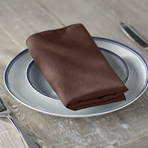 (LA Linen 10-Pack Polyester Poplin Napkins, 18 by 18-Inch, Brown)