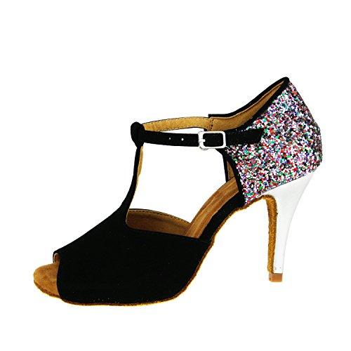Heel Glitter TDA M Ballroom Salsa T Party Sandals 5 Strap Dance Latin High US CM1010 Womens Stiletto Synthetic 7 Black Tango q8BIq