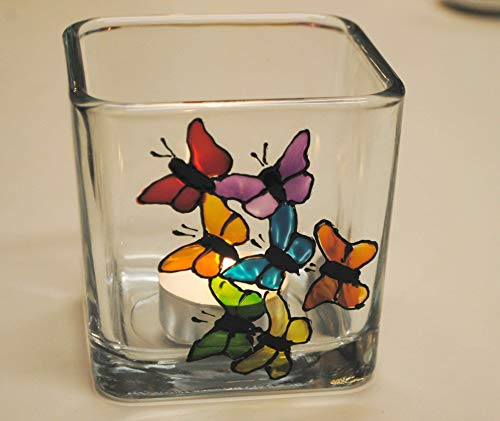 Rainbow Butterflies Multi Color Hand Painted Stained Glass Square Candle Holder Home - Votive Candle Butterfly Holder