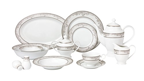 Lorren Home Trends 57 Piece 'Juliette' Bone China Dinnerware Set (Service for 8 People), Silver