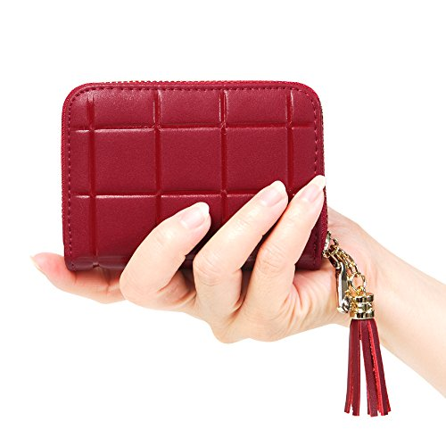 Womens RFID Blocking 15 Slots Card Holder Small Leather Accordion Wallet