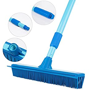 Yangbaga Rubber Broom with Squeegee for Pet Cat Dog Hair Removal on Carpet/Furniture/Hardwood/Tile - Carpet Rake with Telescoping Metal Handle that Extends from 3FT to 5FT