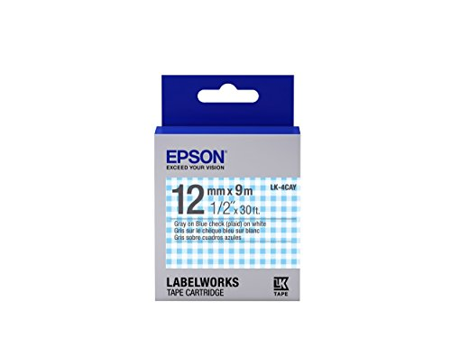 "Epson LabelWorks Standard LK (Replaces LC) Tape Cartridge ~1/2"" Gray on Blue plaid (LK-4CAY) - For use with LabelWorks LW-300, LW-400, LW-600P and LW-700 label printers"