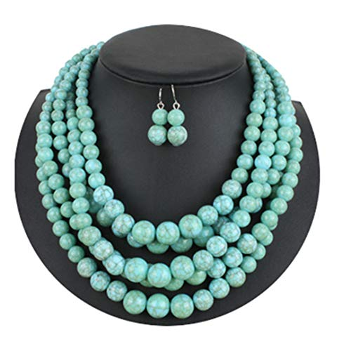 (ZDHSQ Ethnic Resin Beads Necklace for Lady Women Five Strand Beaded Statement Necklace Party Jewelry 6510F7)