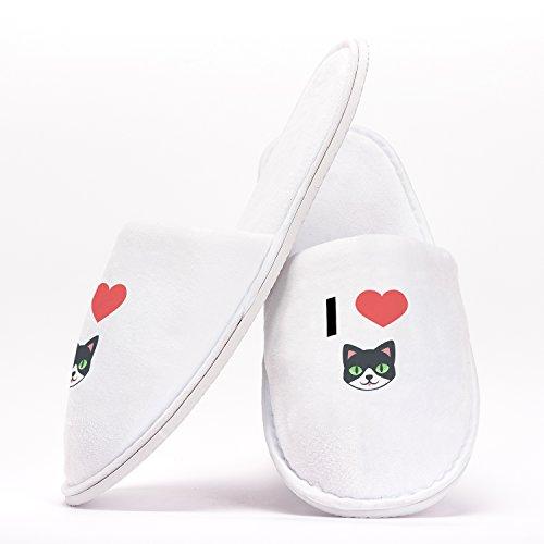 I Love Cats Emoji Heart Einheitsgröße Hausschuhe Individuelles Geschenk für Junggesellinnenabschiede Hochzeiten Geburtstage Reisen