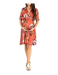 dba6d20724 L Y Women s Print Maternity Dress Half Sleeve Baby Shower Nursing Knee Length  Maternity Wrap Dress with