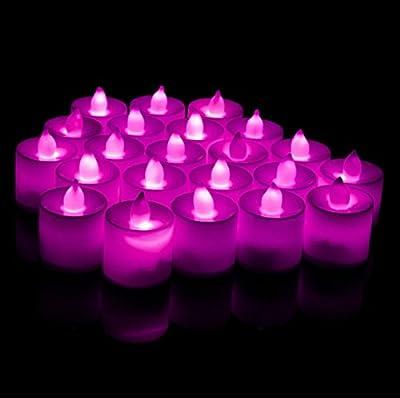 Wrisky 24 Flickering Tea Light Candles Flameless Battery LED Tealight Wedding Christmas