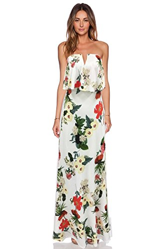 Blooming Jelly Women's Strapless Deep V Neck Casual Ruffles Party Beach Floral Maxi Dress (M, Multi)