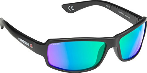 (Cressi Ninja, Adult Sport Sunglasses, Polarized Lenses, Protective Case (Green mirrored))