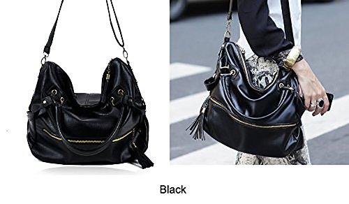 de del Tote Fashion Faux se el ora la THG NEGRO bolso del bolso cuero de de Oficial Hobo borla bolso del Hobo hombro PU Oficina lleva del del Zx8C8qPw