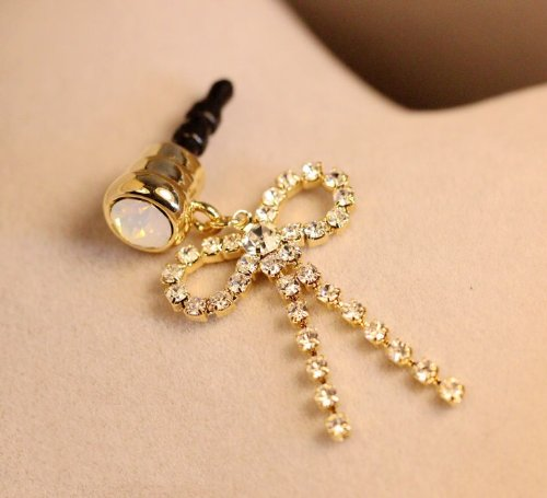 CJB Dust Plug / Earphone Jack Accessory Simple Golden Bowknot Ribbon Rhinestone for iPhone 4 4s S4 5 All Device with 3.5mm Jack (US Seller)