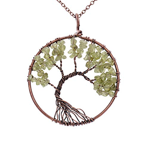 Copper Tone Chain - Handmade Family Root Tree of Life Natural Raw Tumbled Semi Precious Peridot Stone Quartz Pendant Necklace Healing Wire Wrapped Gemstone Birth Stone Necklaces Jewelry for Women Mother