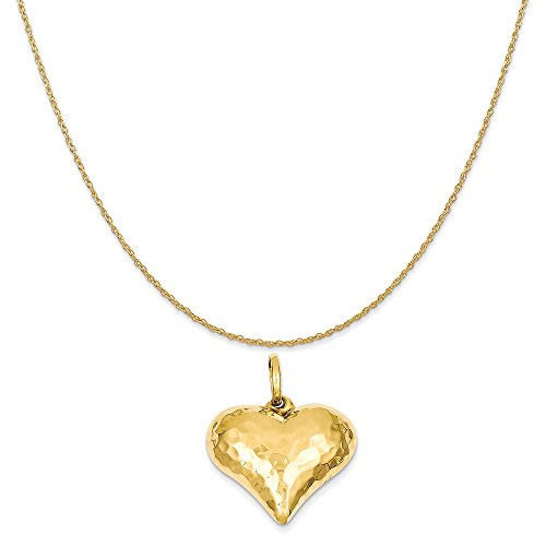 Gold Puffed Hammered Heart (14k Yellow Gold Hollow Polished Hammered Medium Puffed Heart Charm on a Rope Chain Necklace, 18