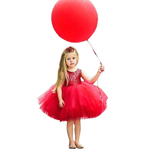 Toddler Baby Girls Birthday Wedding Party Dress Sleeveless Sequins Top Lace Tutu Skirt (Red Lace Bubble Skirt, 18-24 Months)