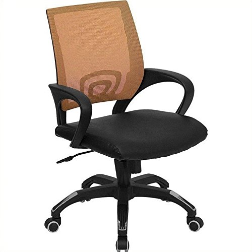 Chair Grid Air Fabric (Flash Furniture Mid-Back Orange Mesh Swivel Task Chair with Black Leather Seat and Arms)