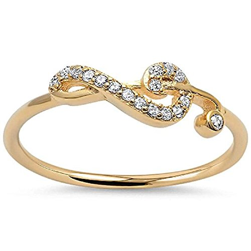 CloseoutWarehouse Cubic Zirconia Sideway Swirl Music Note Ring Yellow Gold-Tone Plated Silver Size 10 ()