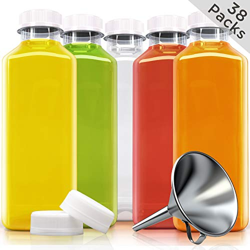 16oz PET Clear Plastic Juice Bottles with 3 Extra White lid + 1 Stainless Steel Funnel (Pack of 38) | Reusable and Disposable Empty Bottle | with Tight Tampered evident caps |]()