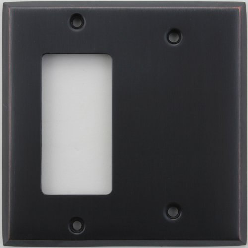 Classic Accents Stamped Steel Oil Rubbed Bronze Two Gang Wall Plate - One GFI/Rocker Opening One Blank