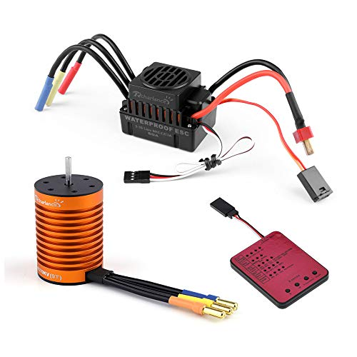 Orcbee  _9T 4370KV Brushless Motor + 60A ESC + Program Card Combo for 1/10 RC Car Truck (Metal Rotor Headset)