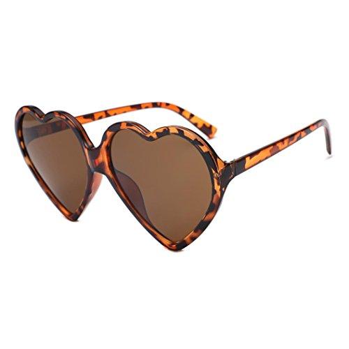 de Mujer Corazón Forma Marrón Hunpta marrón de para con Sol integradas Unisex Gafas Twv6a