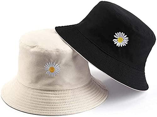 LEIDAI Cute Bucket Hat Beach Fisherman Hats for Women, Reversible Double-Side-Wear (Off-White)