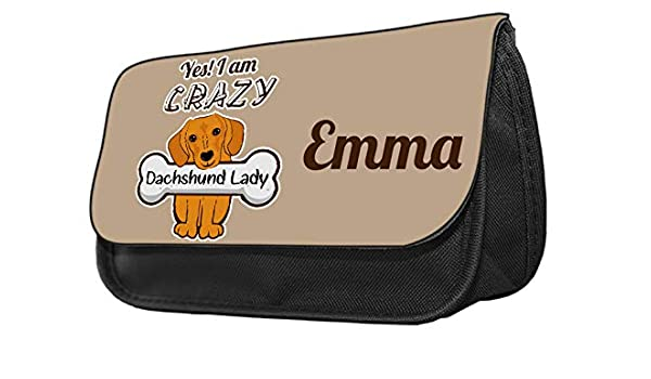 Estuche para lápices con diseño de perro salchicha Estuche de maquillaje, regalo de vuelta al cole.: Amazon.es: Oficina y papelería