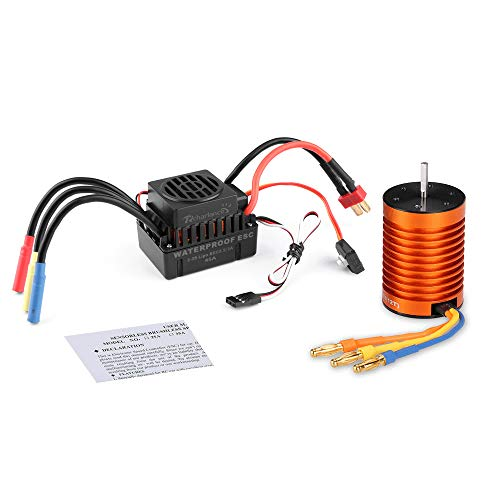 - Rcharlance F540 3300KV Brushless Motor 3.175mm Sensorless with 45A ESC Brushless Waterproof Electronic Speed Controller Combo Set Upgrade Power System for 1/10 RC Car Boat