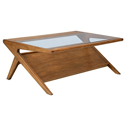 ModHaus Living Mid Century Modern Retro Wood Coffee Occassional Table with Integrated Magazine Display Shelf and Tempered Glass Top in Pecan Finish (Coffee Table)