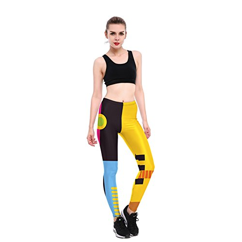 Femme Sports Leggings Cintrast Couleur Pantalons Serrés Pour Gym M