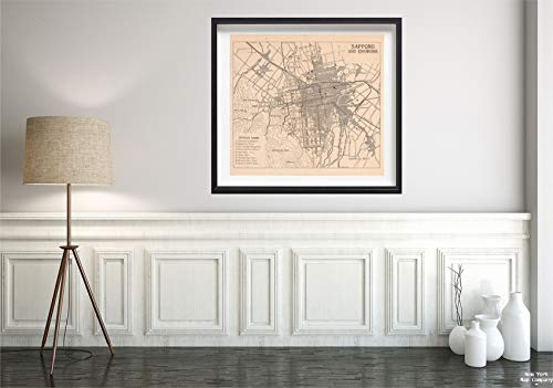 1941 City Map - Map|Sapporo 1941 City|Historic Antique Vintage Reprint|Size: 22x24|Ready to Frame