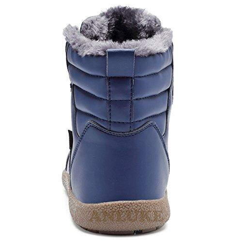 Anluke Uomo Donna Inverno Neve Stivali Alti Superiori Impermeabili Scarpe Calde Allaperto Fodera In Pelliccia Blu