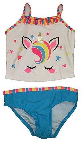 (Baby Girls Unicorn 2 Piece Tankini with Ruffles (5T) White)
