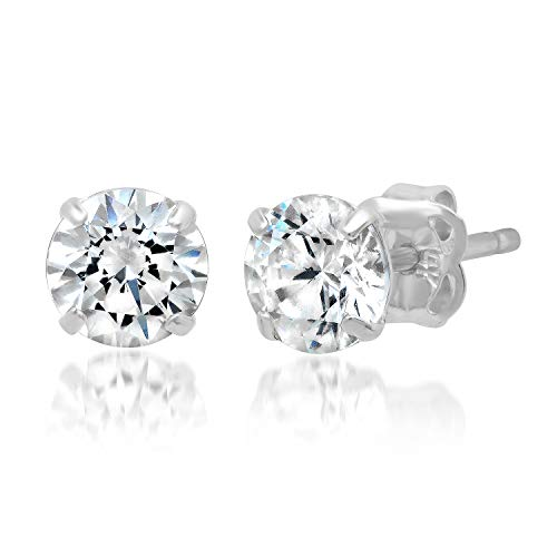 - 14k Solid White Gold ROUND Stud Earrings with Genuine Swarovski Zirconia | 1.0 CT.TW. | With Gift Box