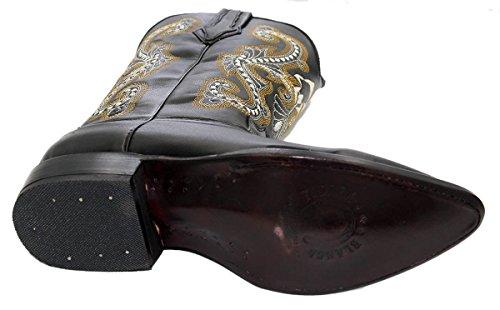 Cowboy Boots Ekte Skinn Cowboy Håndlaget Luksus Støvler Sort