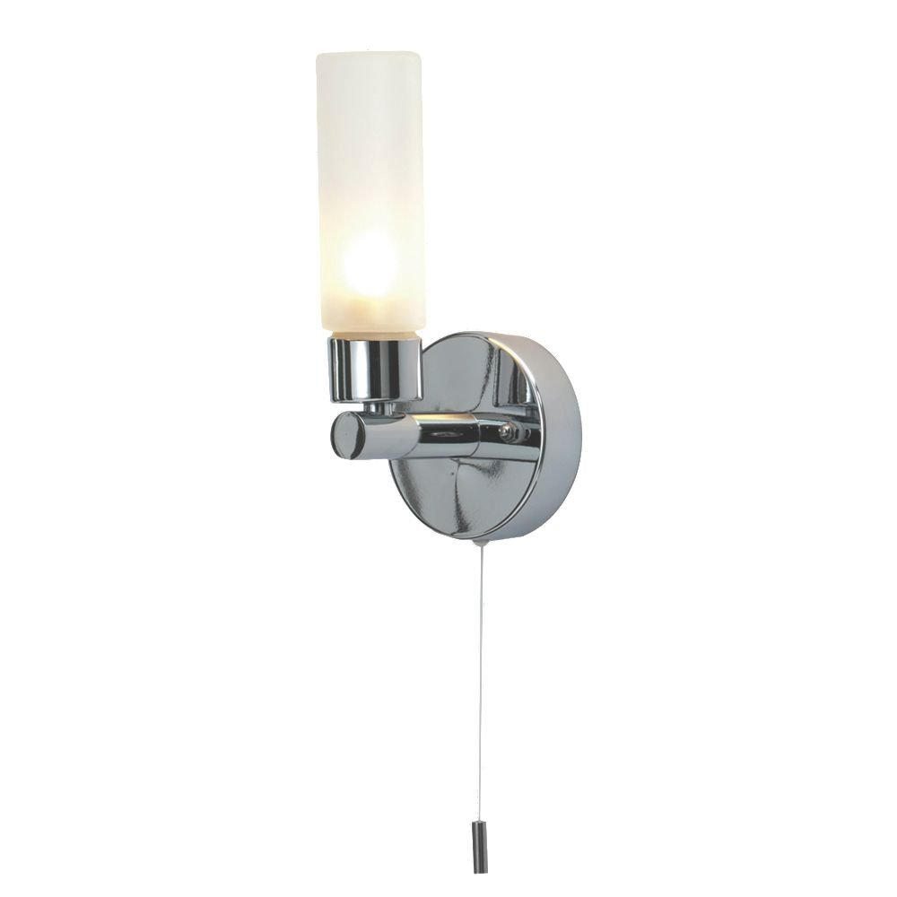 Beta en chrome poli avec abat-jour en verre givré IP44 de salle de bain Applique murale avec cordon de tirage Interrupteur on/off First Choice Lighting