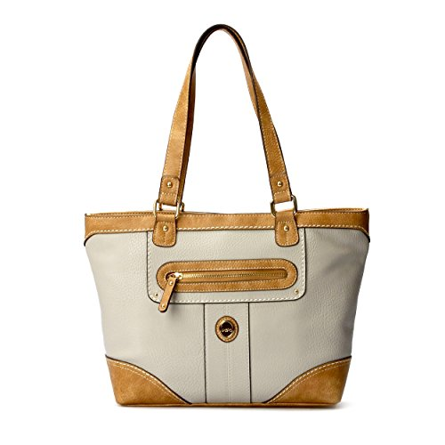 Price comparison product image B.O.C. Womans Fashion Designer Rochester Double Top Handle Top Snap Tote Handbag with Power Bank and USB Charging Cord Dove