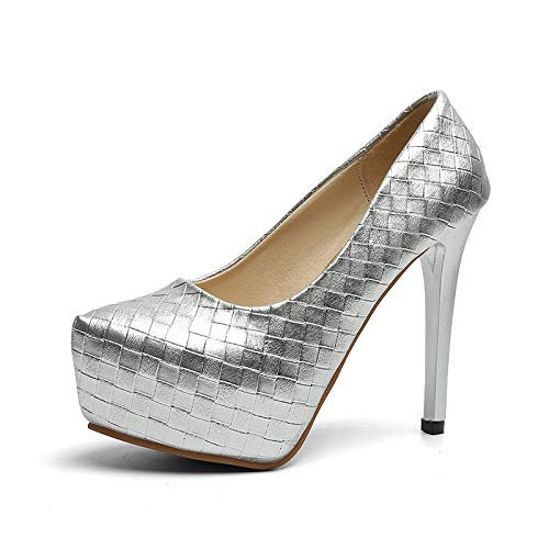 Autumn Professional Yukun 38 High Metal Suede Mouth Silver Shoes High Tide Pointed Early Fine Black Single With Rhinestones heels Shallow Heels Female Piece ZtqZFwr