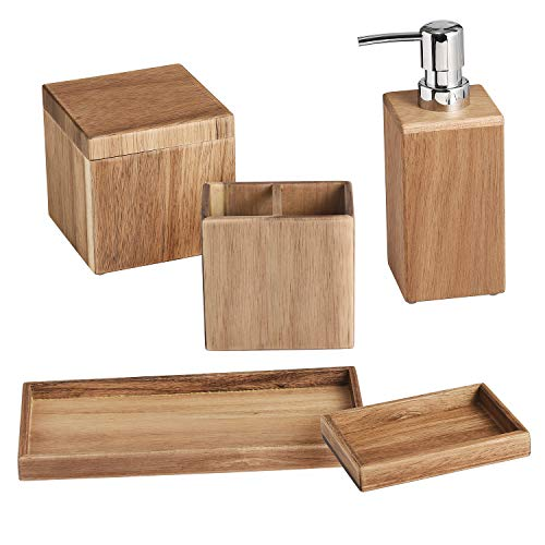 Wood Bathroom - Shireen Home Zen Acacia Wood Bathroom Accessory Complete Set of 5. Soap or Lotion Dispenser, Toothbush Holder, Sundry Jar, Soap Dish, Towel Tray