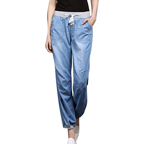 Pantalon Femme 3L Hibote 2XL Sarouel Jeans Confortable XL 4XL Dcontract Denim Bleu S Doux Long Clair Pantalon L Pantalon Lache M ABqpSqftxw