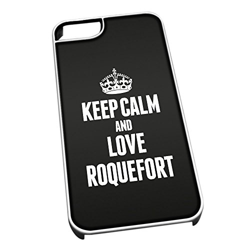 Bianco cover per iPhone 5/5S 1465nero Keep Calm and Love Roquefort