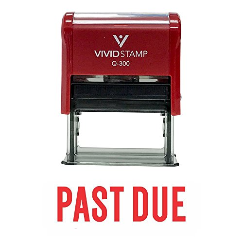 Classic 'PAST DUE' Self Inking Rubber Stamp (Red Ink) - Large