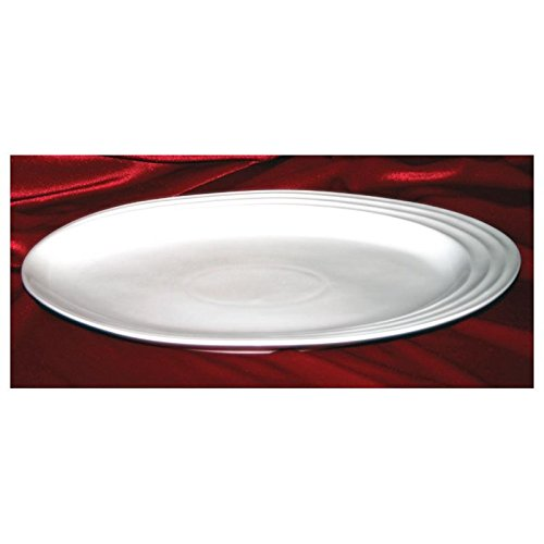 Modern M81614, 14-Inch White Pearl Oval Porcelain Plate, Round Serving Platter Tray, Classic Serving ()