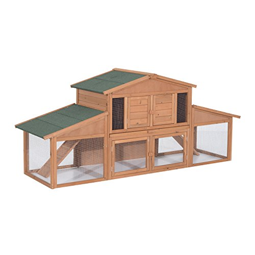 Pawhut 91quot Deluxe Large Wooden Bunny Rabbit Hutch / Chicken Coop w/ Outdoor Run