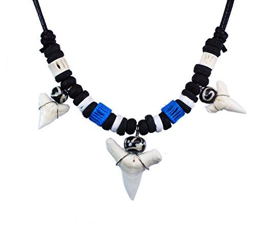 exoticdream Real Shark Tooth Necklace Surfer Hawaiian Beach Boys Girls Men - Color White Bone (3 teeth blue II)