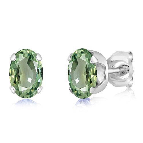 Gem Stone King 1.10 Ct Oval 6x4mm Green Sapphire 925 Sterling Silver Stud Earrings