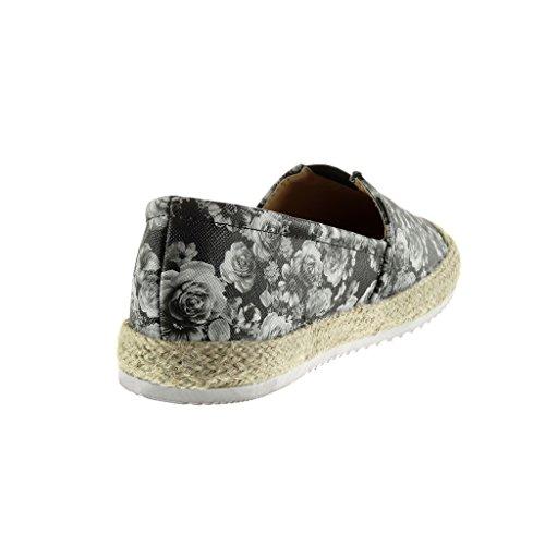 2 cm Fiori Suola Moda Tacco Piatto Tacco Angkorly Espadrillas di Scarpe Donna Corda Mocassini Sneaker Nero 4wwq6OWH5