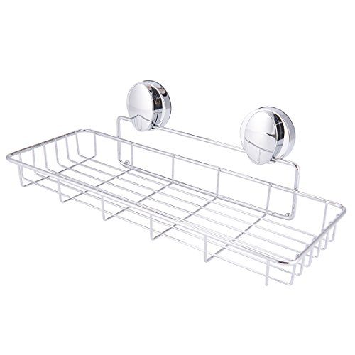 Super Vacuum Suction Cup Shower Caddy Basket, Rustproof Soap Dish Rectangle Basket Wall Shelves Shampoo Holder Organizer for Kitchen & Bathroom Storage, Chromed Finished by Smartloc